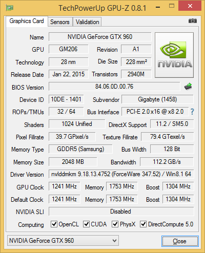 GPU-Z-Screenshot der Gigabyte GeForce GTX 960 Gaming G1