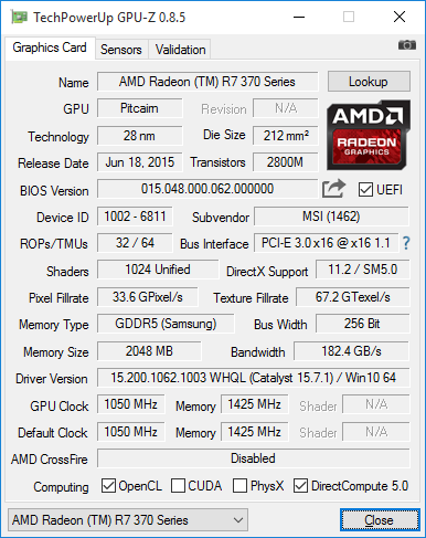 GPU-Z-Screenshot der MSI Radeon R7 370 Gaming 2G