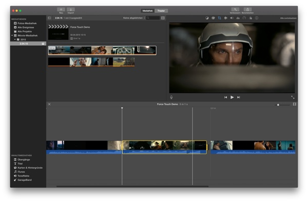 Force-Touch-Trackpad in iMovie
