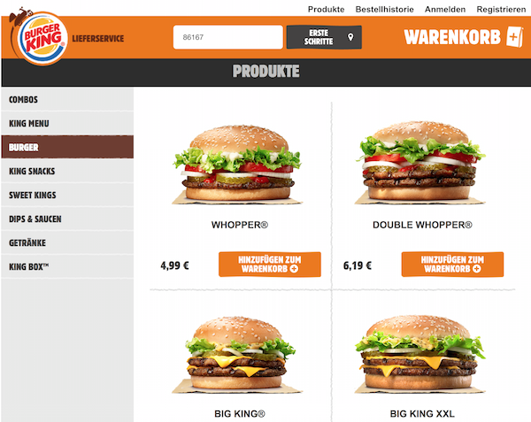 burger king Lieferservice k