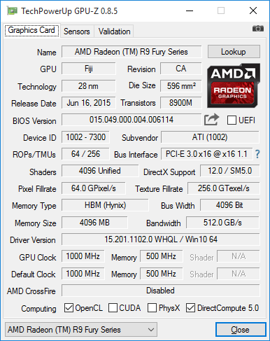 Скриншот GPU-Z видеокарты Radeon R9 Nano