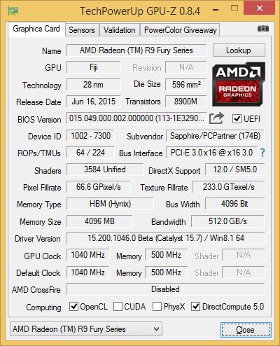 Скриншот GPU-Z видеокарты Saphhire Radeon R9 Fury Tri-X OC