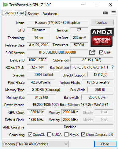 Скриншот GPU-Z видеокарты ASUS ROG Strix Radeon RX 480