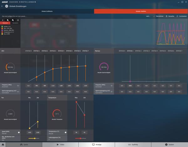 ASUS ROG Strix Radeon RX 480 – режим Gaming (слева) и режим Silent (справа)