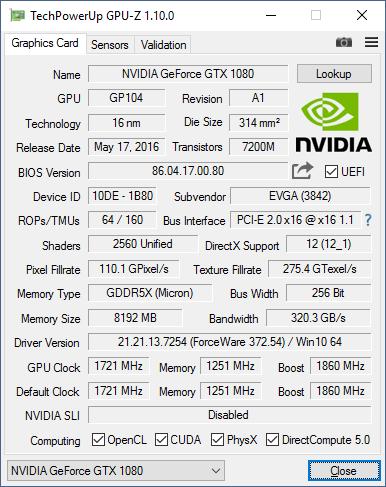 Скриншот GPU-Z видеокарты EVGA GeForce GTX 1080 Classified