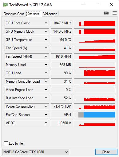 Скриншот GPU-Z видеокарты GeForce GTX 1080 с разогнанной GDDR5X