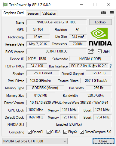 GPU-Z-Screenshot - NVIDIA GeForce GTX 1080 im SLI
