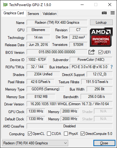 GPU-Z-Screenshot zur PowerColor Radeon RX 480 Red Devil