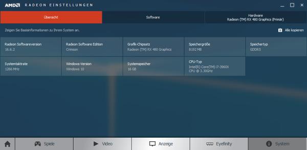 AMD Radeon Software 16.2.2 с видеокартой Radeon RX 480