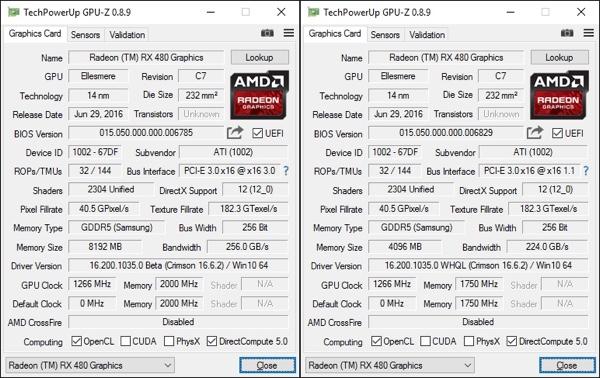 AMD Radeon RX 480 с 8 GB (слева) и 4 GB (справа)