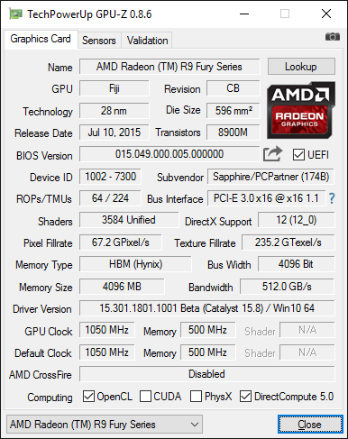 Скриншот GPU-Z видеокарты Sapphire Nitro Radeon R9 Fury