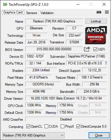 Скриншот GPU-Z видеокарты Sapphire Radeon RX 480 Nitro+