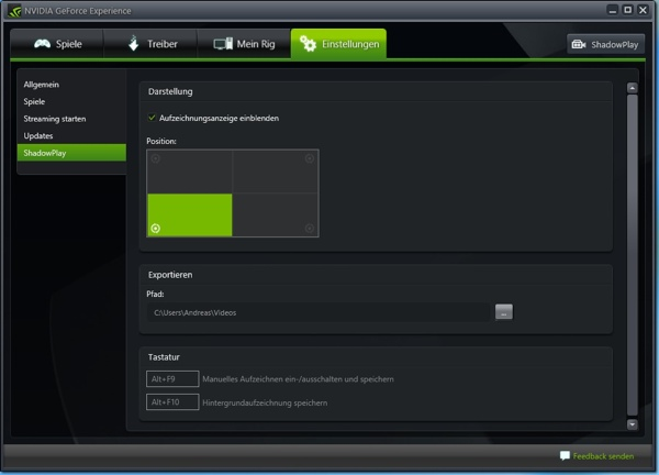 NVIDIA GeForce Experience mit ShadowPlay