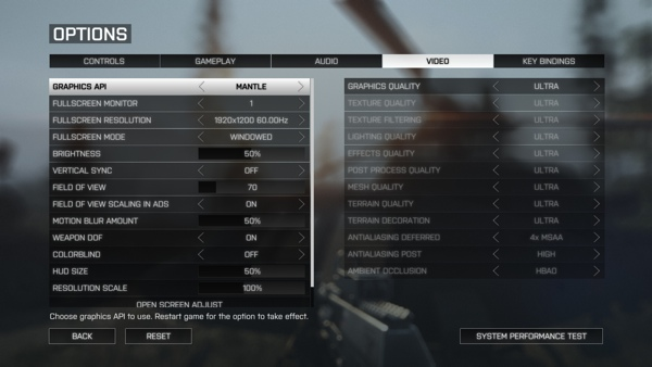 Grafik-API-Einstellungen in Battlefield 4