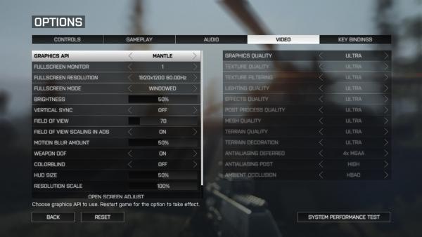 Настройки Graphics API в Battlefield 4