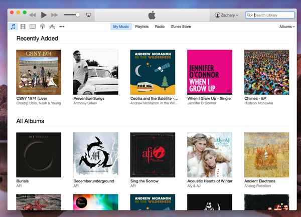 iTunes 12 in OS X 10.10 Yosemite