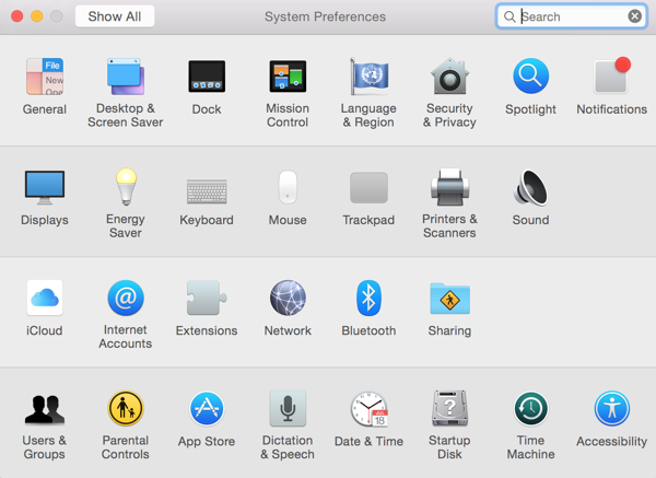 Systemeinstellungen in OS X 10.10 Yosemite