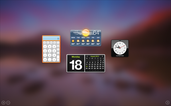 Dashboard in OS X 10.10 Yosemite