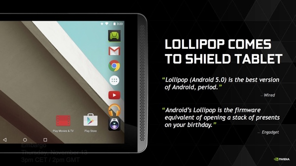 NVIDIA Shield Tablet mit Android 5.0 Lollipop