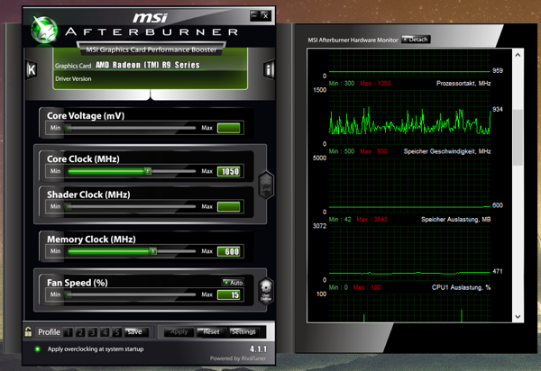 AMD Radeon R9 Overclocking mittels des MSI Afterburner