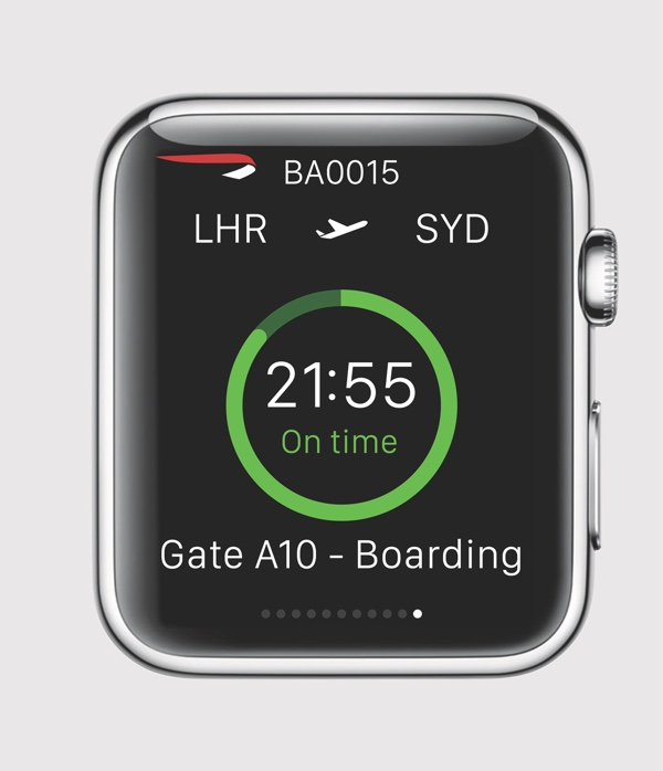 British Airways App auf der Apple Watch