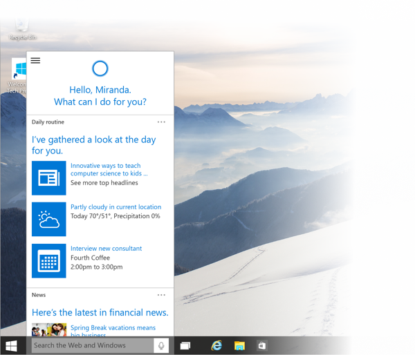 Windows 10 Build 9926 - Cortana auf dem Desktop
