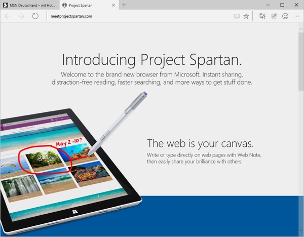 Project Spartan in der Windows 10 Technical Preview