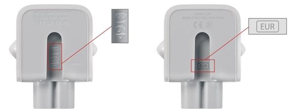 Beschriftung des betroffenen Netzteil-Adapters (links) und des neuen, nicht betroffenen Adapters (rechts)
