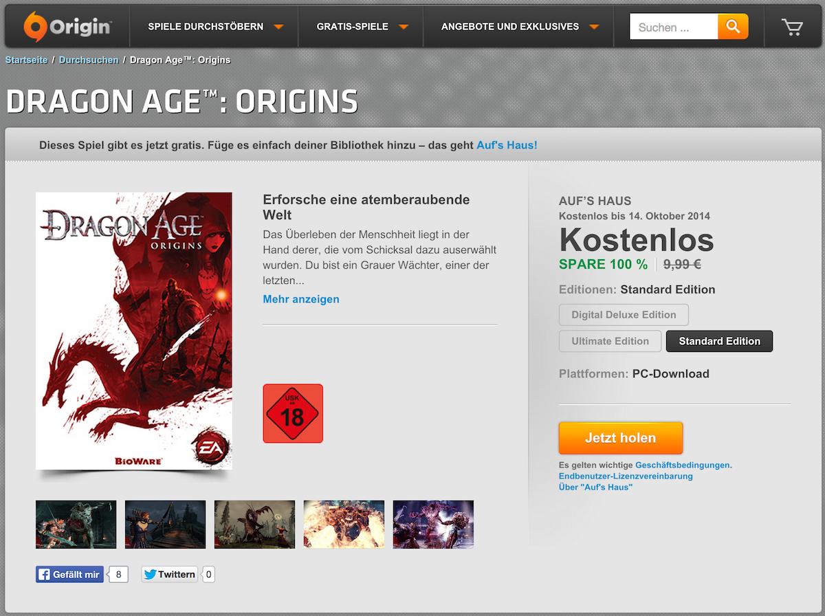 Aufs Haus EA verschenkt Dragon Age Origins Hardwareluxx
