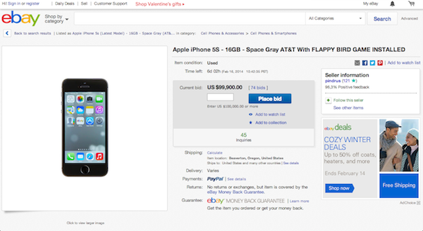 ebay usa iphone5s with falppy bird k