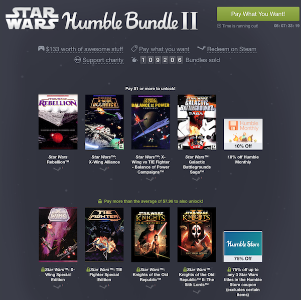 humble bundle star wars2 k