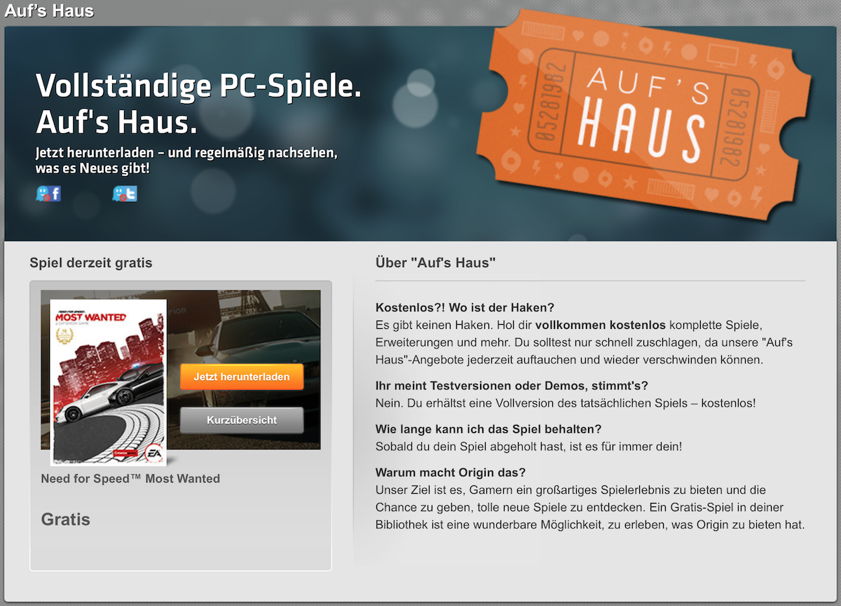 EA Origin Need for Speed Most Wanted geht aufs Haus