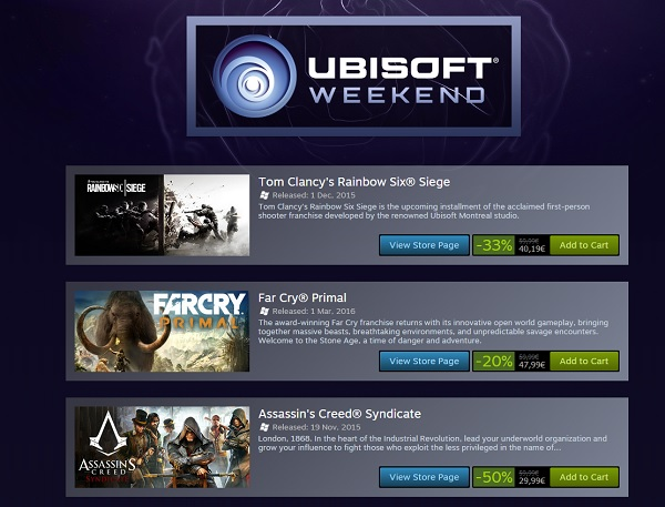ubisoft weekend steam 2016