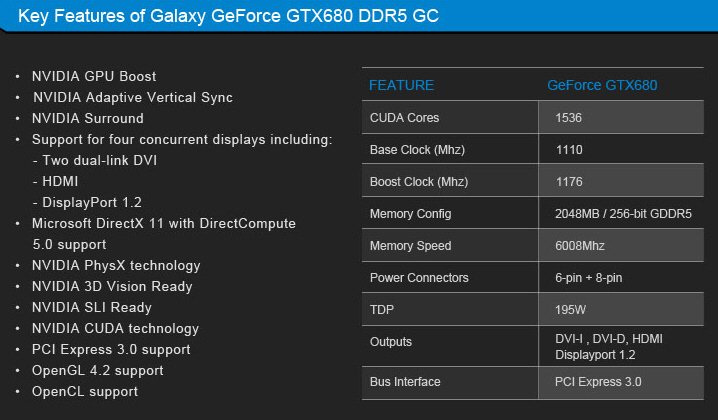 galaxy geforce gtx 680 gc 2gb specs