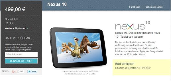 nexus10 liefer