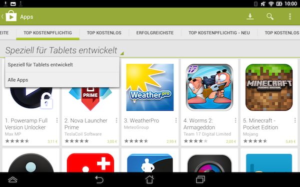 google play tablet ansicht