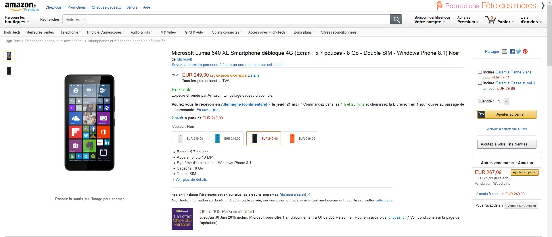 Amazon.fr Lumia640XL 4G