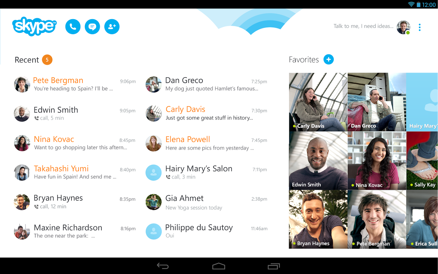 Skype Android Tablet